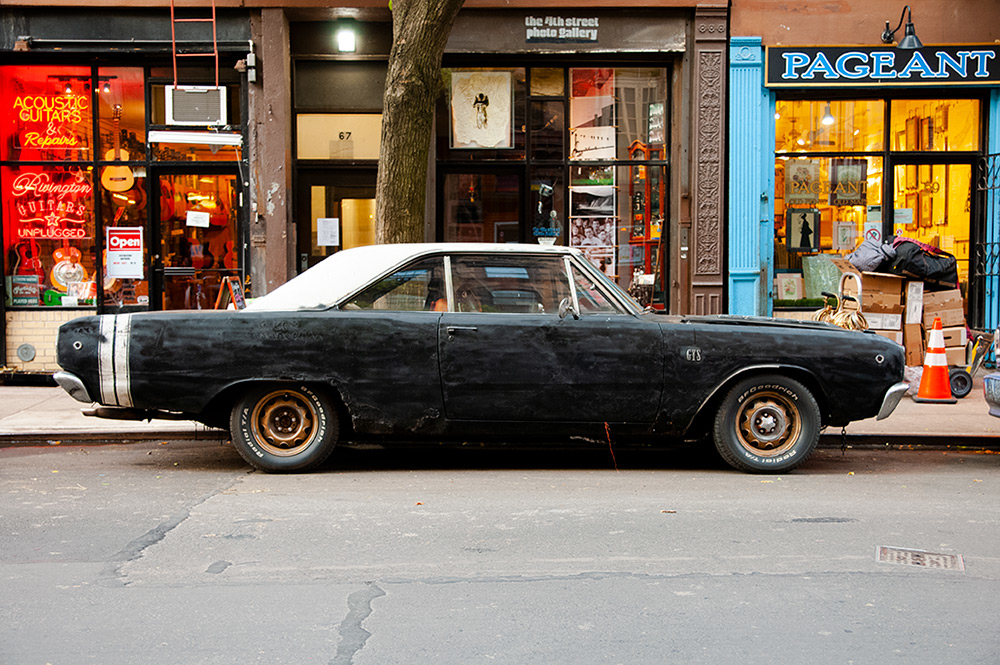 Old car abandoned by The Blues Brothers in East Village. New York 2018