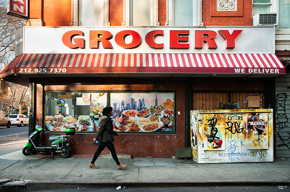 Typical grocery in East Village. New York 2018