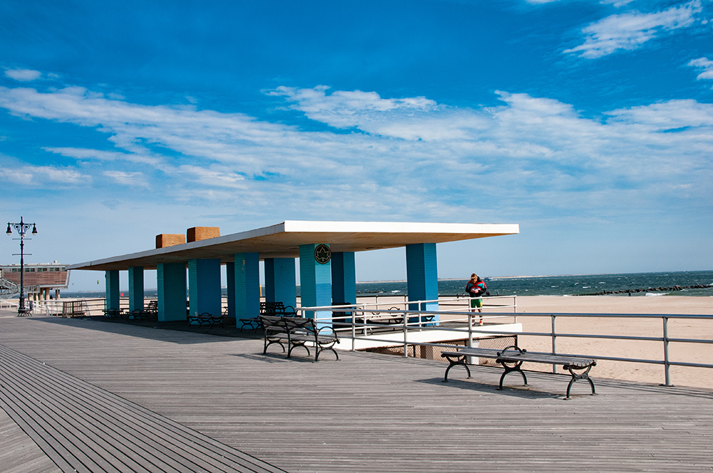 Quiet place in front of the beach. Coney Island, Brooklyn. New York 2019.