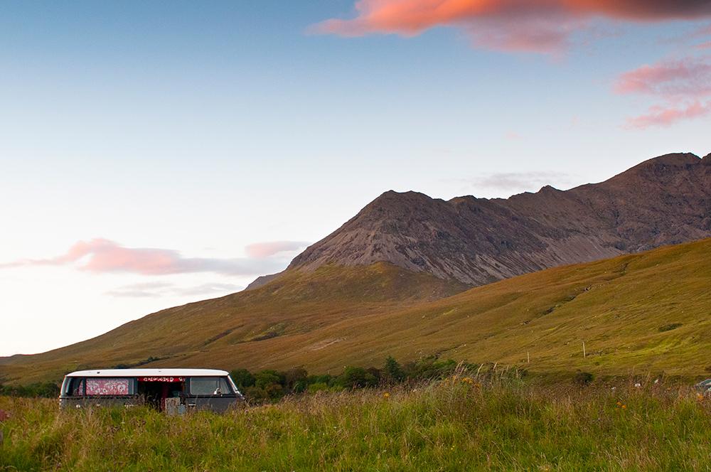 Vw bus on Skye Island. Scotland 2016
