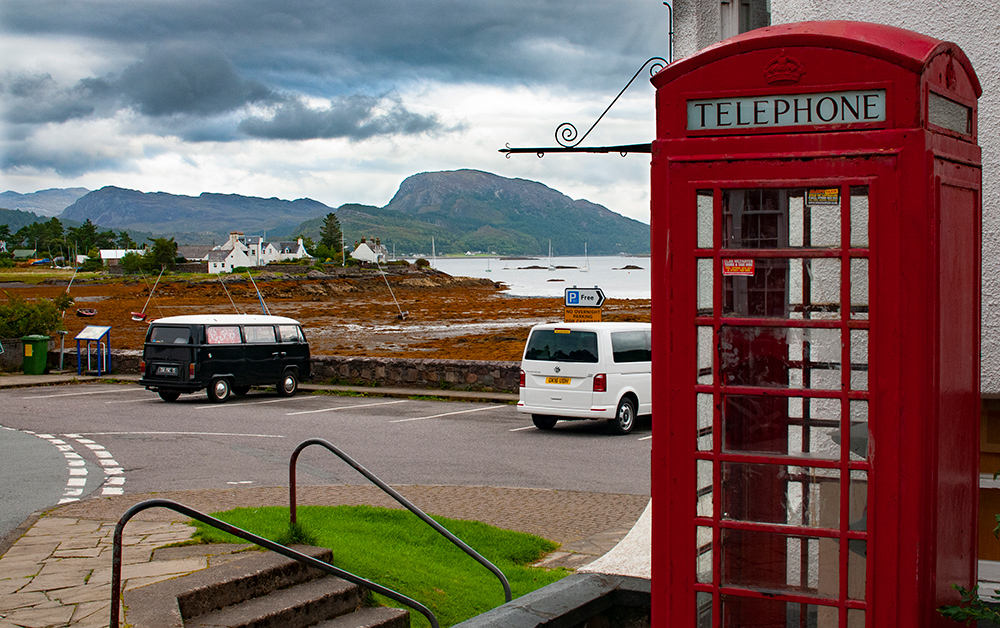 Vw bus and phone cabin in Plockton. Scotland 2016